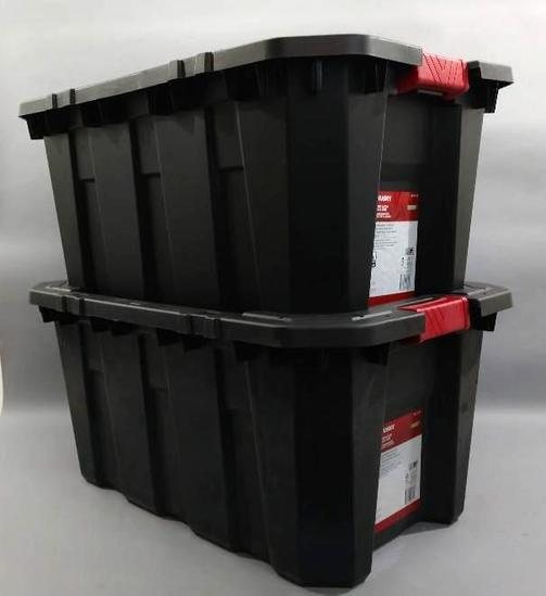 2 Husky 25 Gallon Latch And Stack Storage Totes With Lids
