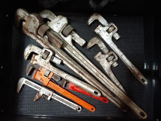 LOT Of 8 Adjustable Plumbers Pipe Wrenches