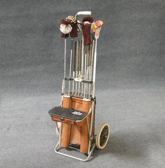 Vintage Golf Club Set With Golf Cart