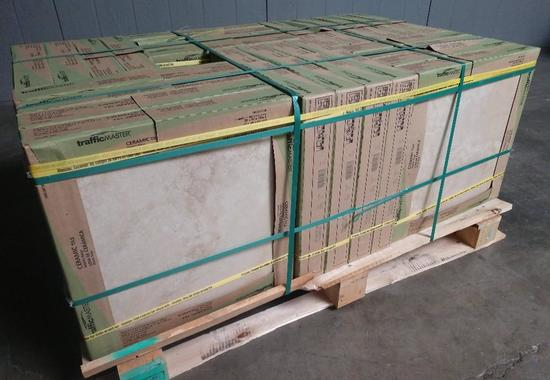 26 NEW Cases Of TrafficMASTER Atlantic Beige 18 in x 18 in Ceramic Floor and Wall Tiles