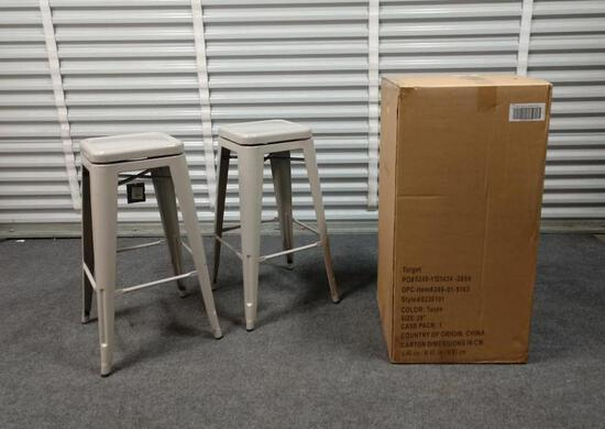 2 NEW Taupe Project 62 Backless Bar Stools