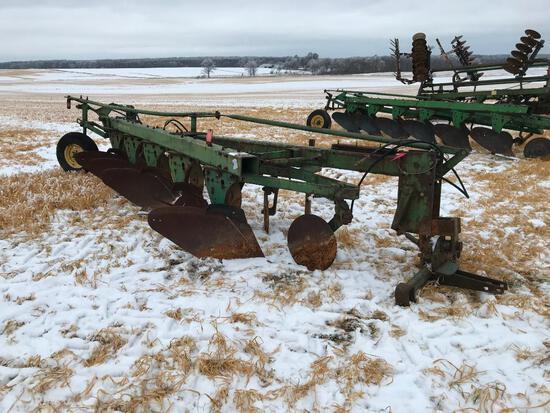 "John Deere 1450 5-bottom 18"" semi mount plow w/ spring coulters; s/n 129152."