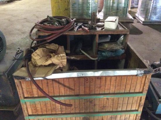 Wood crate w/ misc. motors & parts.