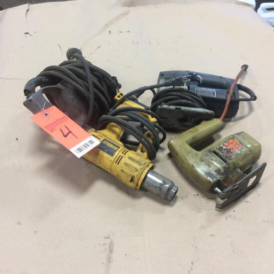 Soiux drill; DeWalt heat gun; 2 - Saber saws.