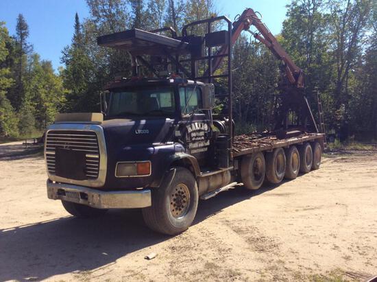 1996 Ford L9000 5-axle log truck; Cummins N14; Eaton Fuller 8LL; 455/65R 22.5 front floats; 11R 22.5