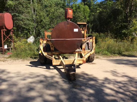 1,000-gallon fuel tank w/ pump on single axle trailer; duals; pintle hitch.