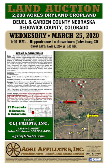 TBA - CLJ Farms - LAND AUCTION - 11 Parcels