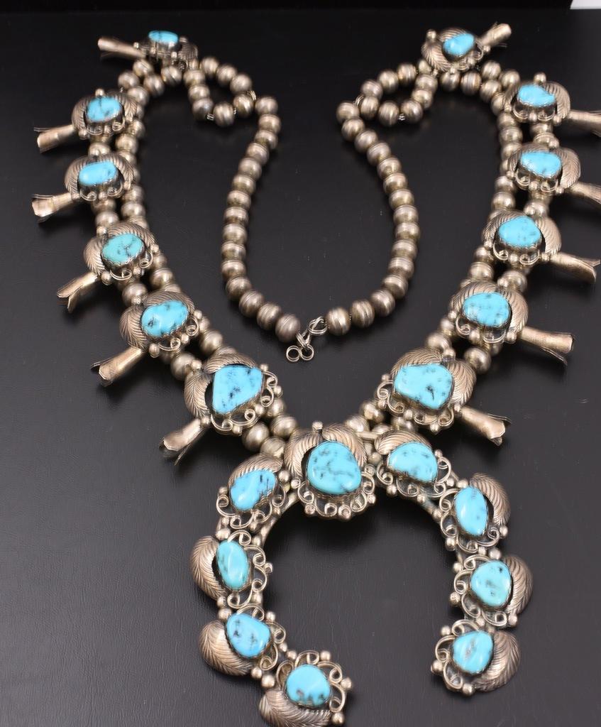 7.47 Oz Vintage Navajo Squash Blossom Necklace