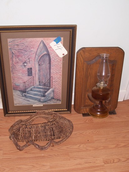 Framed picture and oil lamp