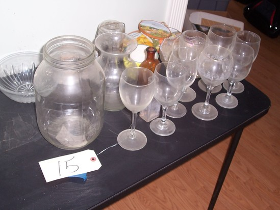 All glassware on table
