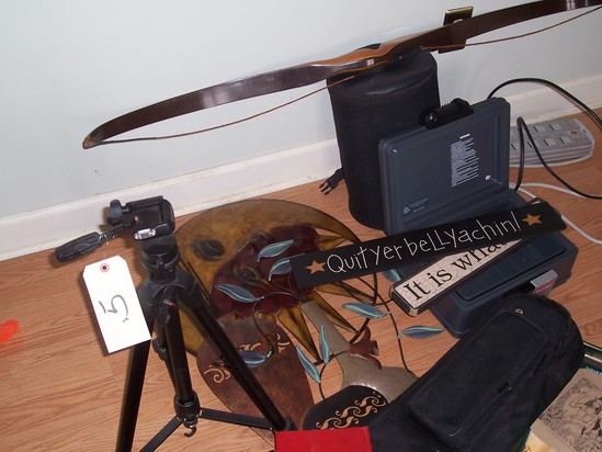 Tripod bow and guitar case and misc