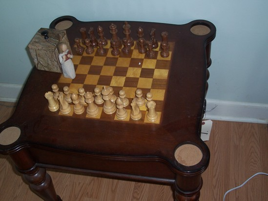 Chest table and chess pieces
