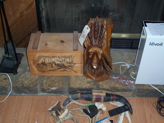 Wooden box, wooden carved Indian head and antlers