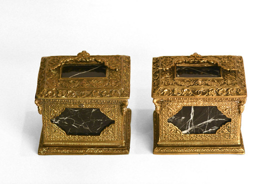 Pair of 19th Century Decorative Brass & Marble Boxes