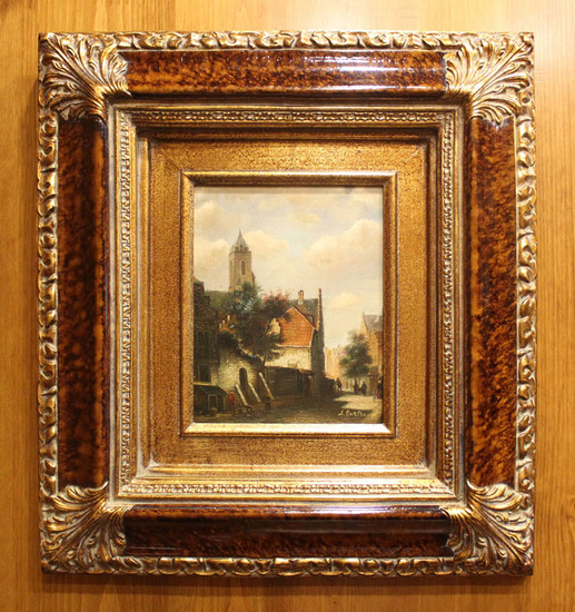 A. Bertrand, Oil. European Church Scene.