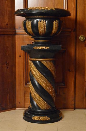 Pair of Marble Pedestaled Jardinieres