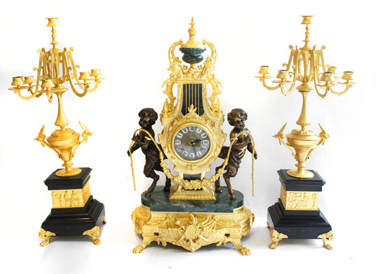 French Dore Bronze and Marble Clock Set.
