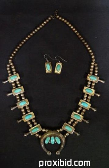 Sterling and Turquoise Squash Blossom set