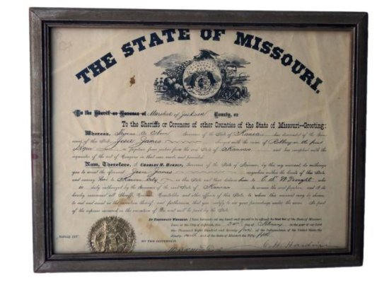 Warrant for The Arrest of Jesse James