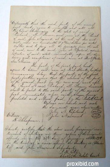 Legal Agreement 1879