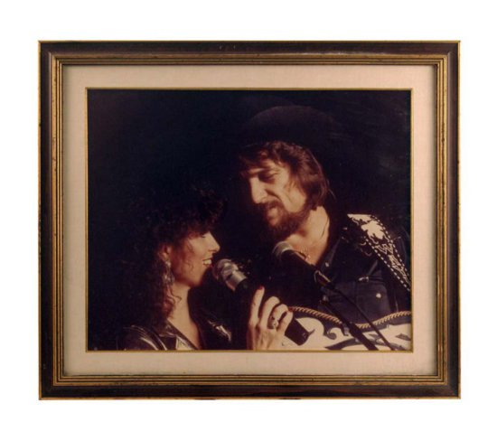 Framed Portrait of Waylon and Jessi on Stage