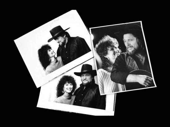 Six Black & White Photographs of Waylon and Jessi Performing Together