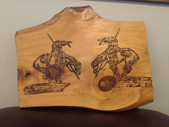 Wood art piece indians