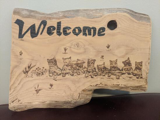 Wood art piece - puppies welcome