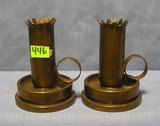 Pair of solid brass Trench Art candle sticks