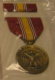 Military defense medal, ribbon and bar set