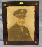 WWII officers photo in heavy glass frame