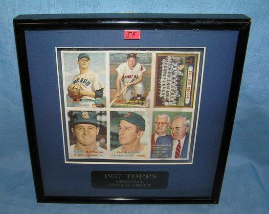 1957 Topps Original Uncut Baseball Card Sheet Art Antiques