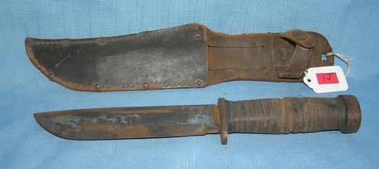 WWII fighting knife with sheath