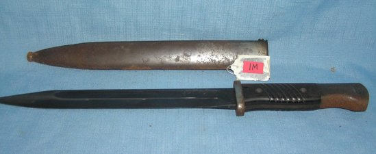 WWII bayonet and scabbard signed Burkopp