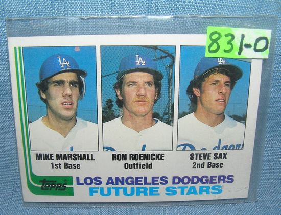 Mike Marshall, Steve Sax, Ron Roenicke baseball card