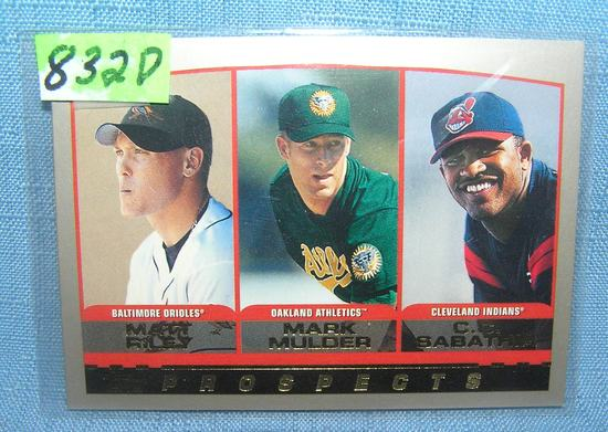 C. C. Sabathia and Mark Moulder rookie baseball card