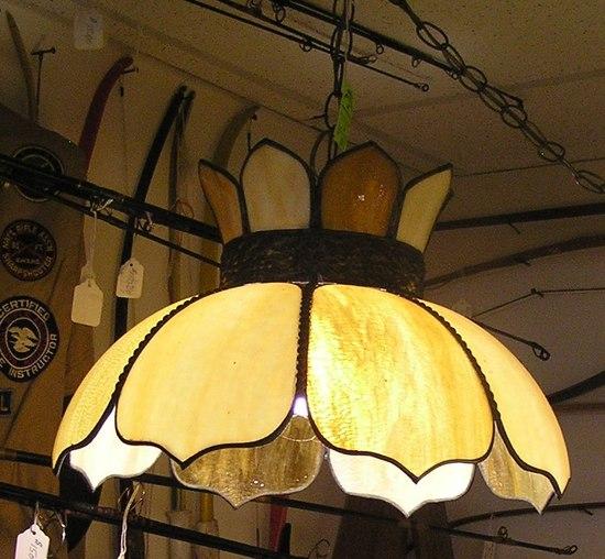 Antique slag glass chandelier