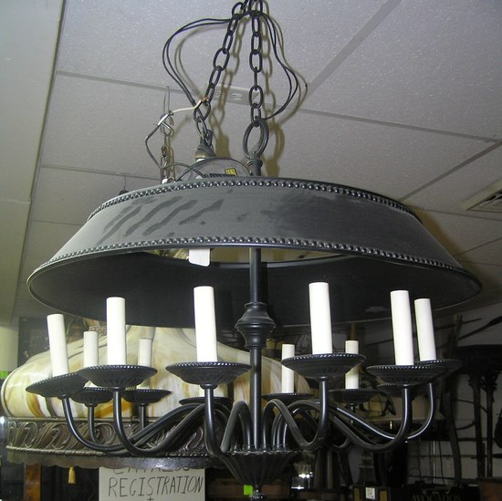 12 bulb hanging all metal chandelier