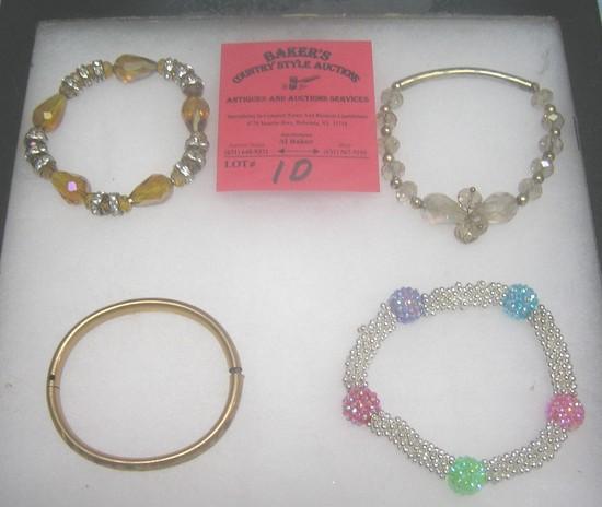 Group of costume jewelry bracelets