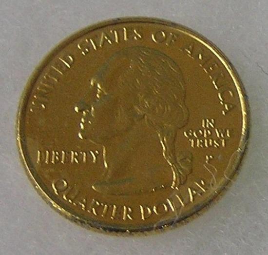 Gold tone Virginia state quarter