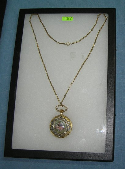 Victorian themed pocket watch shaped necklace