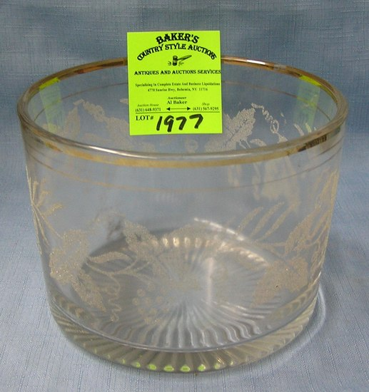 Antique etched glass serving bowl with gold trim