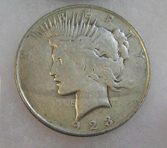 1923 Peace silver dollar in very good condition