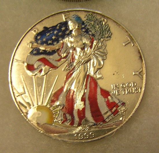 Colorized Walking Liberty 1 troy ounce fine silver coin
