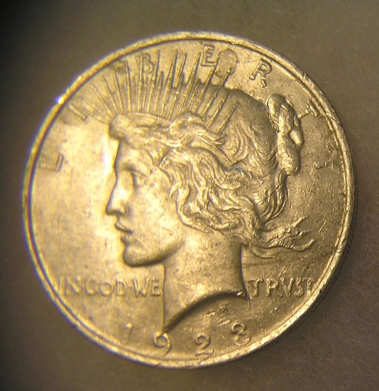 1923 Lady Liberty Peace silver dollar