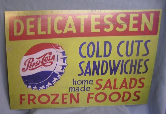 Antique style Pepsi Cola delicatessen advertiaing sign
