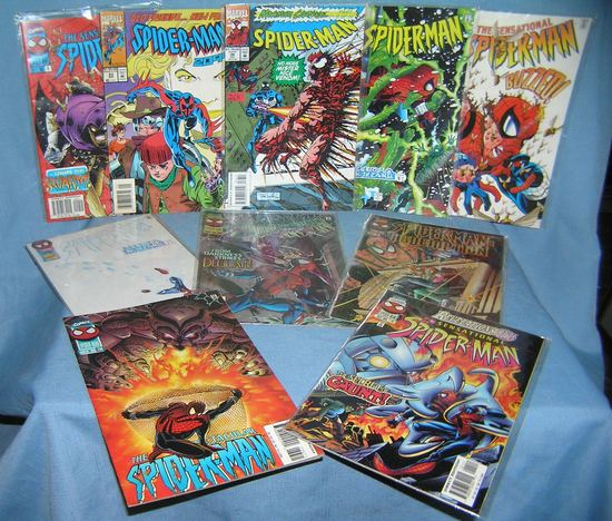 Group of vintage Spiderman comic books