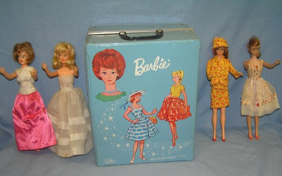 Barbie doll collection featuring 4 vintage dolls and more