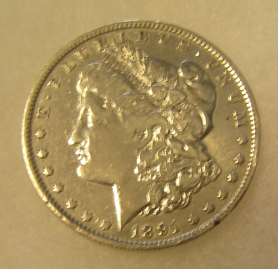 1891-O Morgan silver dollar in fine condition