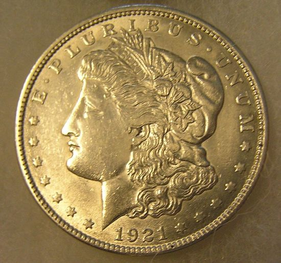 1921 Morgan silver dollar in AU condition